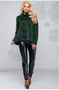 Темно-зеленый свитер ассиметричного кроя из ангоры-травки