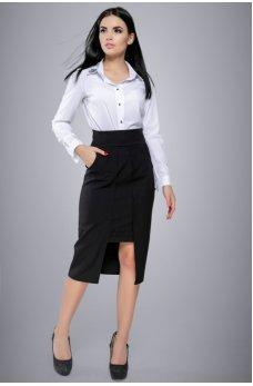 Белая блузка-рубашка с отложным воротничком