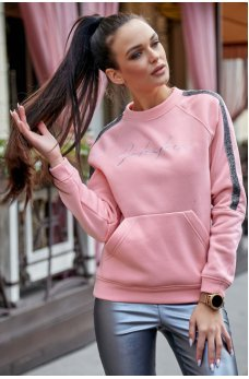 Теплая розовая толстовка спортивного стиля