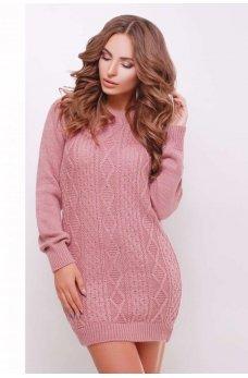 Вязаное платье-туника цвета роза