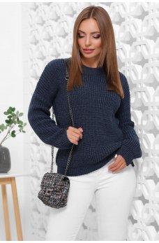 Вязаный свитер оверсайз джинсового цвета