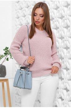 Вязаный свитер оверсайз пудрового цвета