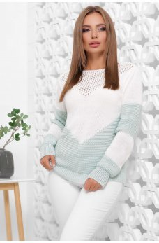 Женский двухцветный свитер в мятном оттенке