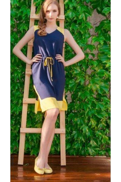 Сине-желтое платье штапель