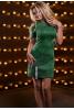 Стильное серо-зеленое платье декорированное нашивными лентами