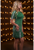 Стильное серо-зеленое платье декорированное нашивными лентами - фото 2
