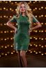 Стильное серо-зеленое платье декорированное нашивными лентами - фото 1