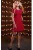 Бордовое платье-трапеция из костюмной ткани
