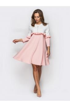 Романтичное двухцветное платье из креп-дайвинга