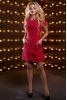Бордовое платье-трапеция из костюмной ткани - фото 1