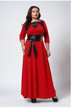 Красное платье в пол с поясом