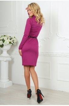 Женственное светло-сиреневое платье с пояском