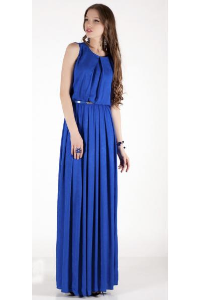 Длинное платье синий электрик
