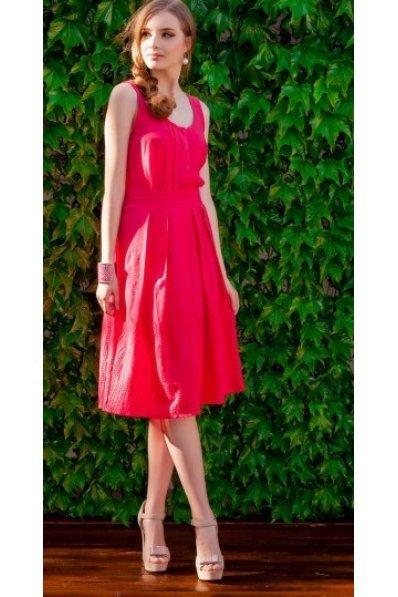 Легкое батистовое платье грейпфрут