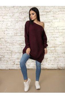 Вязаное платье туника бордового цвета