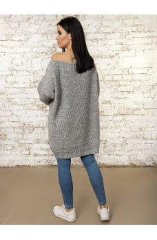 Вязаное платье туника серого цвета