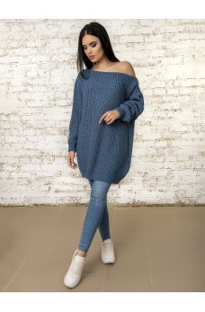 Вязаное платье туника синего цвета
