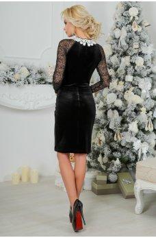 Аристократичное бархатное платье с бантом