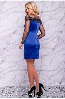 Атласное платье синего цвета