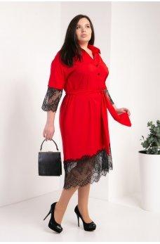 Красное яркое платье-рубашка с кружевом