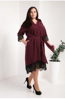 Бордовое элегантное платье-рубашка