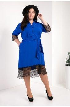 Яркое модное платье-рубашка цвета электрик