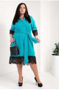 Бирюзовое изящное батальное платье-рубашка