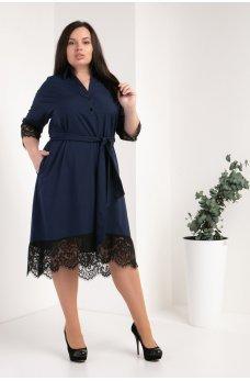 Темно-синее элегантное платье-рубашка