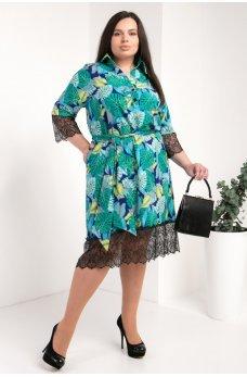 Зеленое модное платье-рубашка с принтом