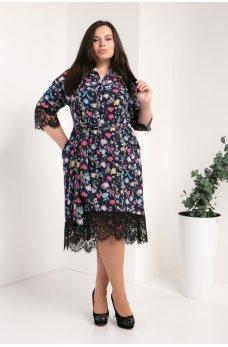 Черное платье-рубашка с цветочным принтом