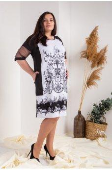 Черное свободное платье с серым орнаментом