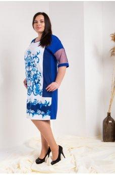 Синее женственное платье с орнаментом