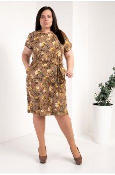 Бежевое оригинальное платье с цветочным принтом