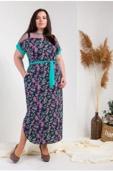 Темно-синее легкое длинное платье с поясом