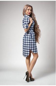 Бирюзовое универсальное платье-рубашка
