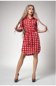 Красное молодежное платье-рубашка в клетку