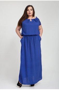 Синее платье макси в горох