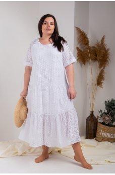 Белое свободное платье миди из натуральной прошвы