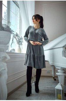 Нарядное серебристое платье  свободного покроя из люрекса