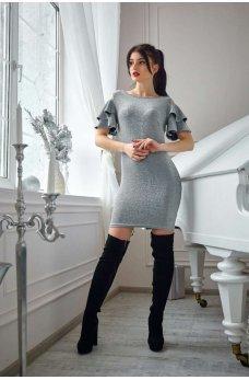 Нарядное платье с люрексом серого цвета