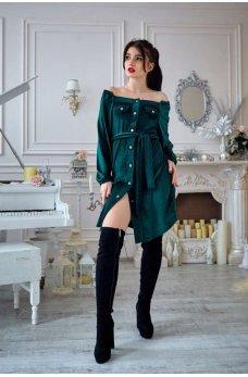 Изумрудное вельветовое платье прямого силуэта