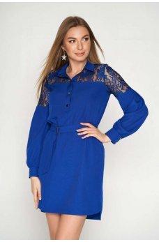 Синее платье с воротничком и поясом