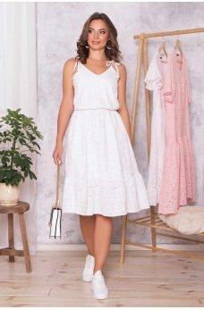 Белый летний модный сарафан из прошвы