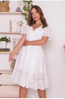 Белое утонченное платье на запах