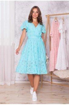 Бирюзовое летнее платье на запах