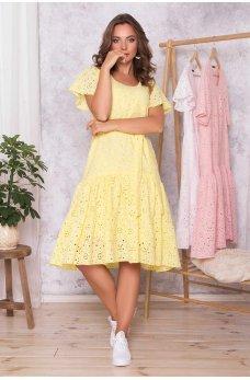 Желтое летнее нежное платье