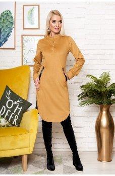 Горчичное эффектное платье-рубашка