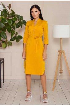 Желтое удобное яркое платье