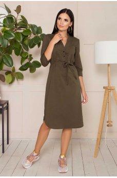 Привлекательное платье миди цвета хаки