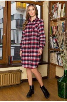 Серое оригинальное платье-рубашка в клетку